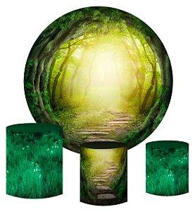 Kit Painel Redondo De Festa e Capas de Cilindro em tecido sublimado Portal da Floresta Mágica