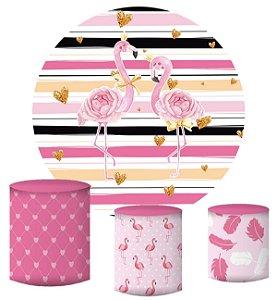 Kit Painel Redondo De Festa e Capas de Cilindro em tecido sublimado Flamingos Rosas Lindos