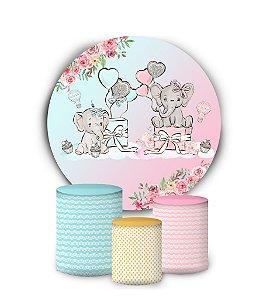 Kit Painel Redondo De Festa e Capas de Cilindro em tecido sublimado Elefantinho Azul e Rosa