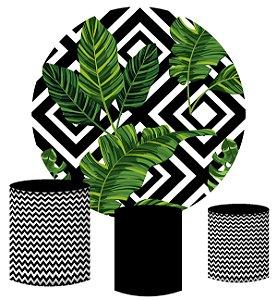 Kit Painel Redondo De Festa e Capas de Cilindro em tecido sublimado Folhas Tropicais
