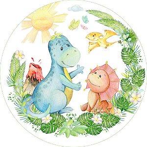 Painel de Festa Redondo em Tecido Sublimado Dinos Baby Aquarela c/elástico