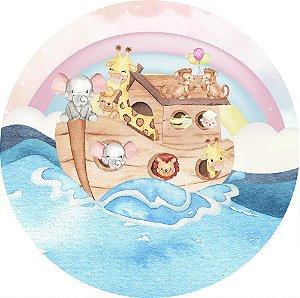 Painel de Festa Redondo em Tecido Sublimado Arca de Noé Animais Aquarela c/elástico