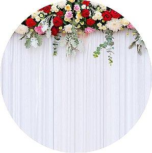 Painel de Festa Redondo em Tecido Sublimado Cortina de Flores Coloridas c/elástico