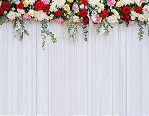 Painel de Festa em Tecido Sublimado 3d Cortina de Flores Coloridas