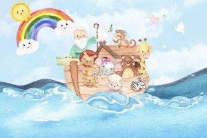 Painel de Festa em Tecido Sublimado 3d Arca de Noé Arco-íris