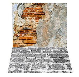Fundo Fotográfico em Tecido Sublimado Muro de Tijolos Antigos