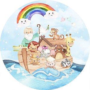 Painel de Festa Redondo em Tecido Sublimado Arca de Noé Arco-íris c/elástico
