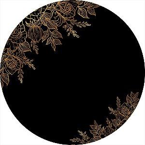 Painel de Festa Redondo em Tecido Sublimado Flores Douradas c/elástico