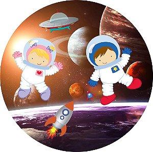 Painel de Festa Redondo em Tecido Sublimado Astronautas Cute c/elástico