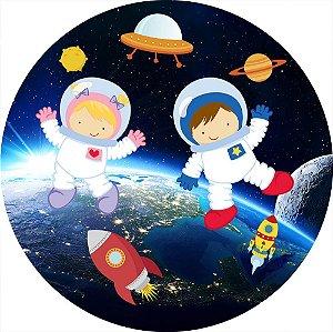Painel de Festa Redondo em Tecido Sublimado Astronautas Cute Planeta c/elástico