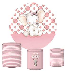 Kit Painel Redondo De Festa e Capas de Cilindro em tecido sublimado Elefantinho Rosa com Lacinho