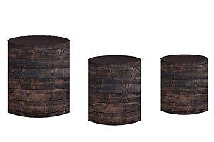 Kit Capas de Cilindro em tecido sublimado Madeira Escura