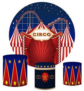Kit Painel Redondo De Festa e Capas de Cilindro em tecido sublimado Circo Montanha Russa