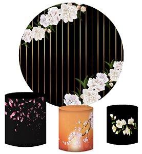 Kit Painel Redondo De Festa e Capas de Cilindro em tecido Listras e Flores