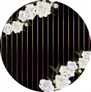 Painel de Festa Redondo em Tecido Sublimado Flores Listras Douradas c/elástico