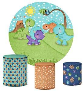 Kit Painel Redondo De Festa e Capas de Cilindro em tecido Dinossauros Cute Sol