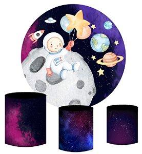 Kit Painel Redondo De Festa e Capas de Cilindro em tecido Astronauta Aquarela no espaço