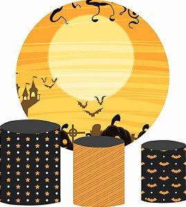 Kit Painel Redondo De Festa e Capas de Cilindro em tecido Lua do Halloween