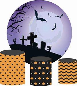 Kit Painel Redondo De Festa e Capas de Cilindro em tecido Lua Cemitério Halloween