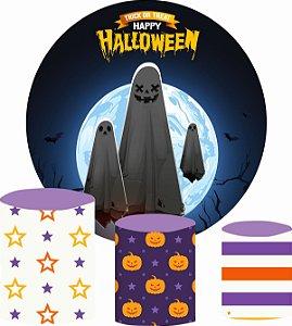Kit Painel Redondo De Festa e Capas de Cilindro em tecido Travessuras Halloween