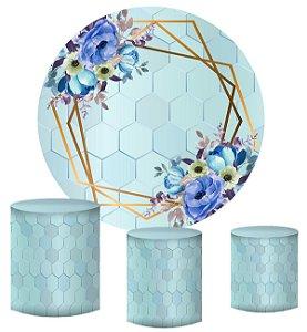 Kit Painel Redondo De Festa e Capas de Cilindro em tecido Fundo Geométrico Flores Azuis