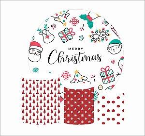 Kit Painel Redondo De Festa e Capas de Cilindro em tecido Merry Christmas Natal