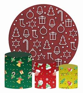 Kit Painel Redondo De Festa e Capas de Cilindro em tecido Textura de Natal