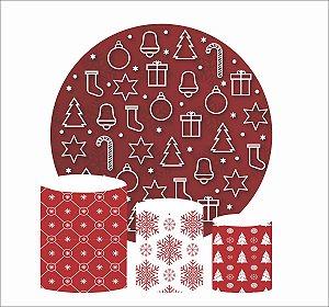 Kit Painel Redondo De Festa e Capas de Cilindro em tecido Natal Vermelho