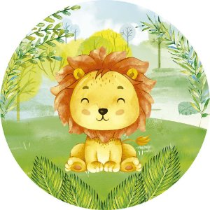 Painel de Festa Redondo em Tecido Sublimado Leãozinho do Safari