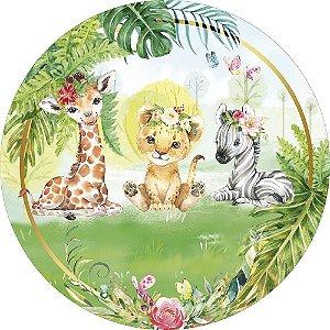 Painel de Festa Redondo em Tecido Sublimado Safari Tropical Aquarela