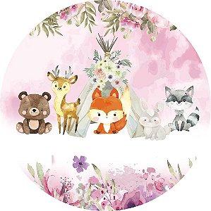 Painel de Festa Redondo em Tecido Sublimado Raposinha e Animais do Bosque