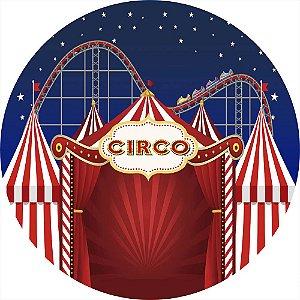 Painel de Festa Redondo em Tecido Sublimado Circo e Montanha Russa