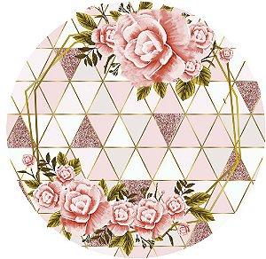 Painel de Festa Redondo em Tecido Sublimado Flores Rosas Fundo Rosé