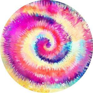 Painel de Festa Redondo em Tecido Sublimado Arco-íris Tie Dye