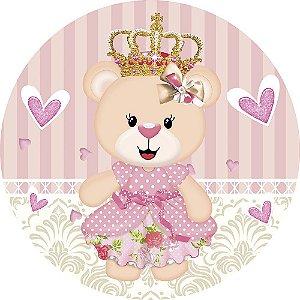 Painel de Festa Redondo em Tecido Sublimado Ursinha Princesa Coroa