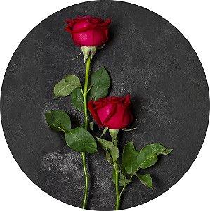 Painel de Festa Redondo em Tecido Sublimado Botão de Rosas