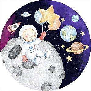 Painel de Festa Redondo em Tecido Sublimado Astronauta Lua Aquarela