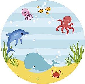 Painel de Festa Redondo em Tecido Sublimado Fundo do Mar Cute