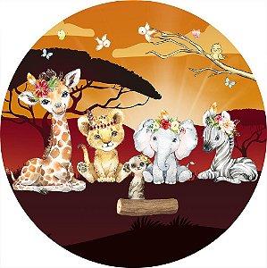 Painel de Festa Redondo em Tecido Sublimado Safari Sunshine