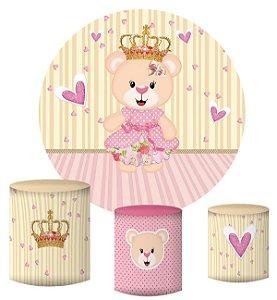 Kit Painel Redondo De Festa e Capas de Cilindro em tecido sublimado Ursinha Princesa Coração