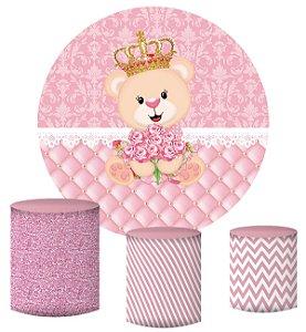 Kit Painel Redondo De Festa e Capas de Cilindro em tecido sublimado Ursinha Princesa Realeza