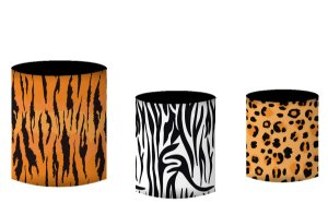 Kit Capas de Cilindro de festa em tecido sublimado Pele Animais do Safari