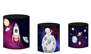 Kit Capas de Cilindro de festa em tecido sublimado Astronauta Aquarela