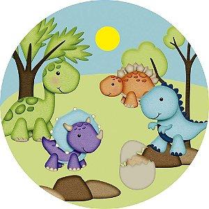 Painel de Festa Redondo em Tecido Sublimado Dinossauros Cute Sol