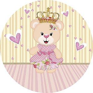 Painel de Festa Redondo em Tecido Sublimado Corações Ursinha Princesa