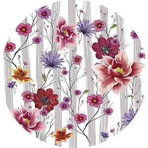 Painel de Festa Redondo em Tecido Sublimado Flores e Folhas Aquarela