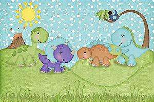Painel de Festa em Tecido Sublimado 3d Dinossauros Roar Cute