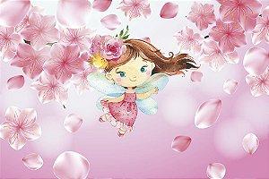 Painel de Festa em Tecido Sublimado 3d Fada Flores