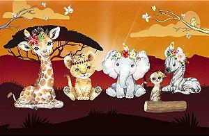 Painel de Festa em Tecido Sublimado 3d Safari Sunshine