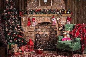 Painel de Festa em Tecido Sublimado 3d Sofá e Presentes de Natal